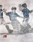 Soccer Drawings Originals - Scotty Scores by Arlene  Wright-Correll
