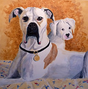 Boxer Painting Framed Prints - Scout and Jasper Framed Print by Jeff Chase