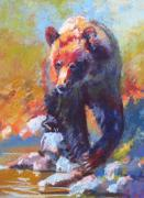 Grizzly Pastels Prints - Scouting for Salmon Print by Christine  Camilleri