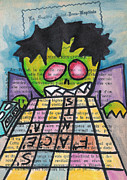 Games Mixed Media Prints - Scrabble Zombie Print by Jera Sky