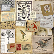Postage Stamps Prints - Scrapbook Page Number 1 Print by Carol Leigh