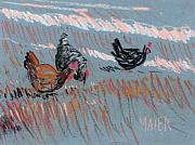 Chicken Drawings - Scratch Pepper and Pebbles by Donald Maier