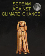 Flooding Mixed Media Posters - Scream Against Climate Change Poster by Eric Kempson