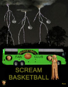 Throw Mixed Media Posters - Scream Basketball Poster by Eric Kempson