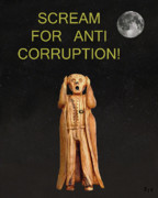 Bribery Posters - Scream For Anti Corruption Poster by Eric Kempson