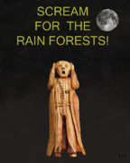 Biological Mixed Media Posters - Scream For The Rain Forests Poster by Eric Kempson