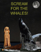 Animal Sculpture Mixed Media Posters - Scream for the Whales Poster by Eric Kempson