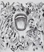 Pen  Drawings Originals - Scream by Nelson Rodriguez