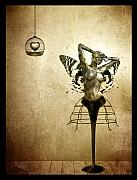 Surreal Mixed Media Framed Prints - Scream of a Butterfly Framed Print by Photodream Art