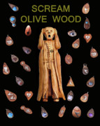 Jewellery Mixed Media Posters - Scream Olive Wood Poster by Eric Kempson