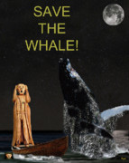 Animal Sculpture Mixed Media Posters - Scream with Humpback Save the Whale Poster by Eric Kempson