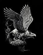 Scratchboard Drawings - Screaming Griffon by Stanley Morrison