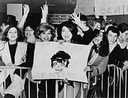 British Invasion Posters - Screaming Teenagers Girls Wave A Crude Poster by Everett
