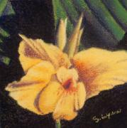 Miniatures Pastels - Screaming Yellow Cannas by Sandra Lynn
