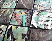 Fused Glass Mixed Media - Screen Printed Glass Tiles by Sarah King