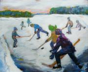 Hockey Painting Originals - Scrimmage on the River by Naomi Gerrard