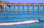 Ocean Digital Art Originals - Scripps Pier - Surfing by Russ Harris