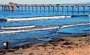 Seashore Digital Art Originals - Scripps Pier La Jolla Surfing by Russ Harris