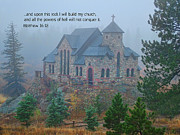 Church Photos Prints - Scripture and Picture Matthew 16 18 Print by Ken Smith