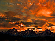 Bible Verses Prints - Scripture and Picture Psalm 121 1 2 Print by Ken Smith