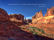 Moab Utah Posters - Scripture and Picture Romans 8 37  Poster by Ken Smith