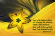 Biblical Prints - Scripture with Yellow Star Abstract Print by Linda Phelps
