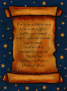 Parchment Pastels Prints - Scroll With Starry Background Print by Joyce Geleynse
