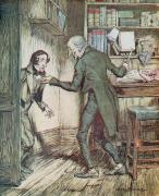 Interior Drawings Posters - Scrooge and Bob Cratchit Poster by Arthur Rackham