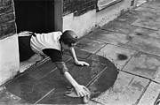Mid Adult Framed Prints - Scrubbing Flagstones Framed Print by Bert Hardy