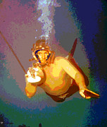 Charles River Mixed Media Posters - Scuba Diver Poster by Charles Shoup