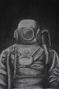 Scuba Drawings - Scuba Diver Long Ago by Chas Maxwell