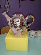 Teapot Ceramics Framed Prints - Scull Teapot Framed Print by Kathleen Raven