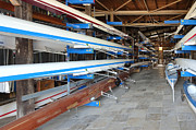 Boathouse Row Photos - Sculling Shells On Racks by Noam Armonn