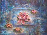 Lilies Sculpture Posters - Sculpted Waterlilies Poster by Beverly Barris