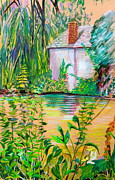 Canal Mixed Media - Sculptors Home and Studio on Oxfordshire Canal by Mindy Newman