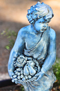 Fruit Basket Framed Prints - Sculpture Child with Fruit Basket 1 Framed Print by Linda Phelps