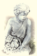 Fruit Basket Framed Prints - Sculpture Child with Fruit Basket 2 Framed Print by Linda Phelps