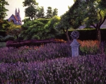Flower Gardens Painting Posters - Sculpture Garden Poster by David Lloyd Glover