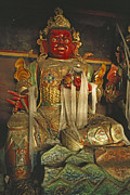 Tibetan Buddhism Posters - Sculpture Of Wrathful Protective Deity Poster by Gordon Wiltsie