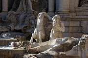 Historic Statue Prints - Sculptures on Trevi Fountain. Rome Print by Bernard Jaubert