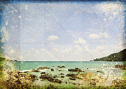 Sea And Cloud On Grunge Paper Print by Setsiri Silapasuwanchai