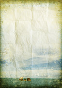 Grungy Prints - Sea And Cloud On Old Grunge Paper Print by Setsiri Silapasuwanchai