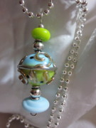 Silver Turquoise Jewelry - Sea and Earth World Necklace by Janet  Telander