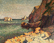 Sea Framed Prints - Sea And Rocks at Agay Framed Print by Maximilien Luce