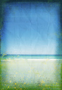 Manuscript Photo Prints - Sea And Sky On Old Paper Print by Setsiri Silapasuwanchai