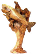 Olive Wood Sculpture - Sea Bass Sculpture by Eric Kempson