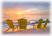 Sunset Greeting Cards Prints - Sea Dreams Print by Debra and Dave Vanderlaan