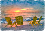 Sunset Greeting Cards Posters - Sea Dreams II Poster by Debra and Dave Vanderlaan