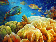 Brain Coral Posters - Sea eScape I - Color Queens Poster by Nancy Tilles