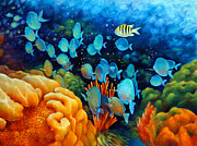 Blue Tang Fish Prints - Sea eScape II - Wayward Fish Print by Nancy Tilles